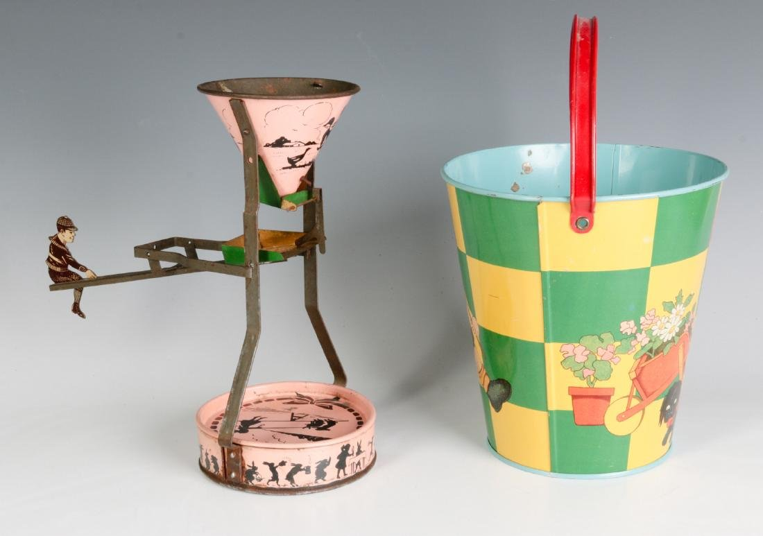 A TIN LITHO SEE-SAW SAND TOY AND NICE CHILD'S PAIL - 8