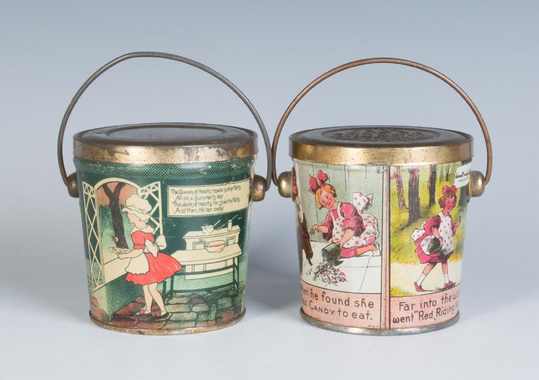CIRCA 1930S TIN LITHO HARD CANDY TINS W/ RHYMES