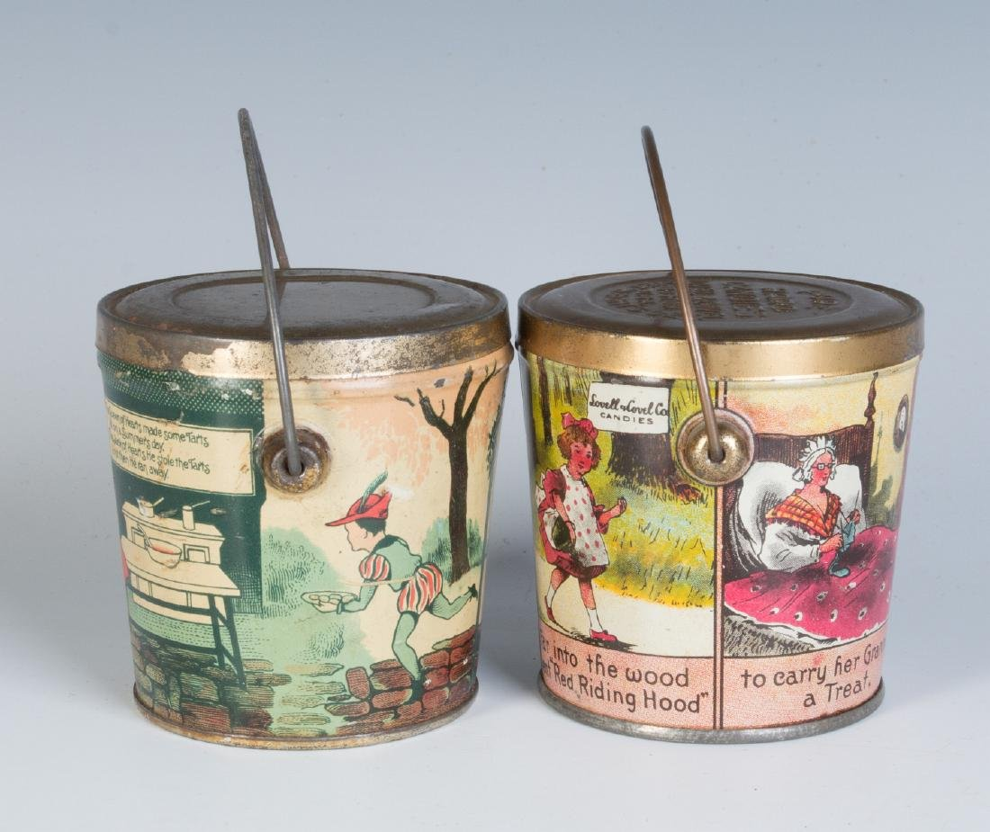 CIRCA 1930S TIN LITHO HARD CANDY TINS W/ RHYMES - 2