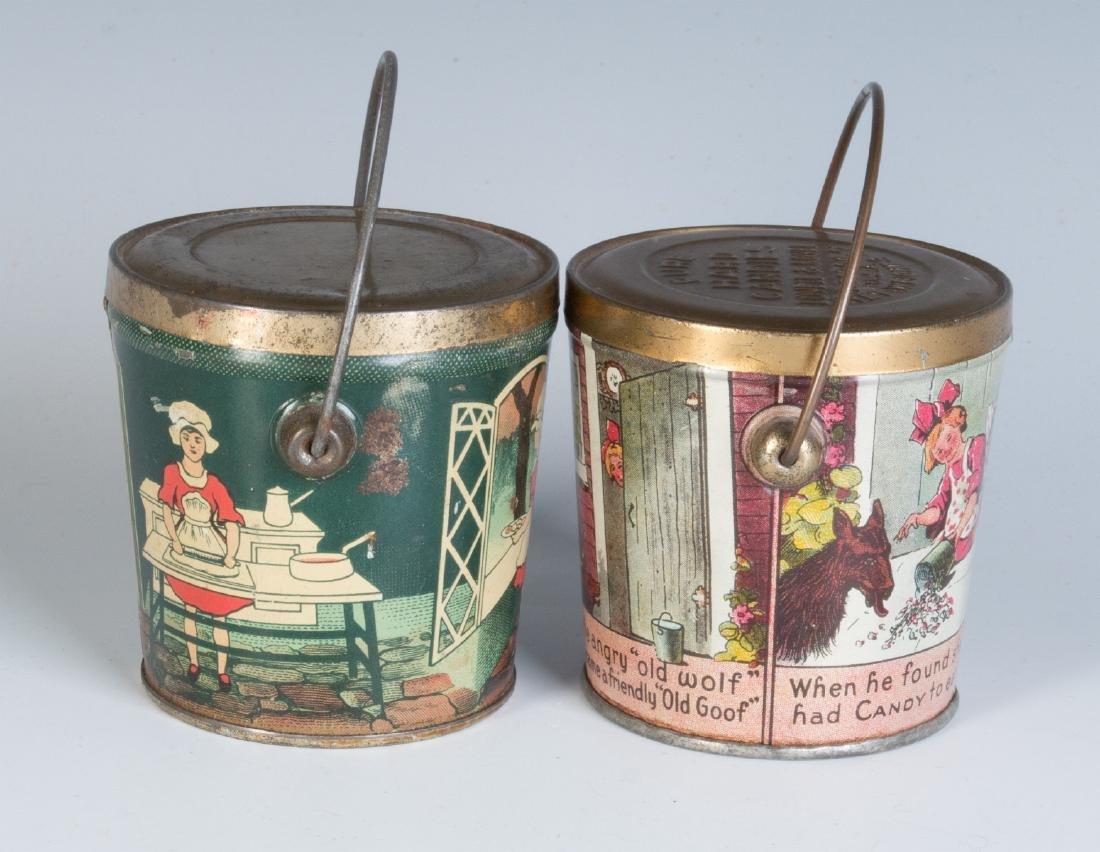 CIRCA 1930S TIN LITHO HARD CANDY TINS W/ RHYMES - 4