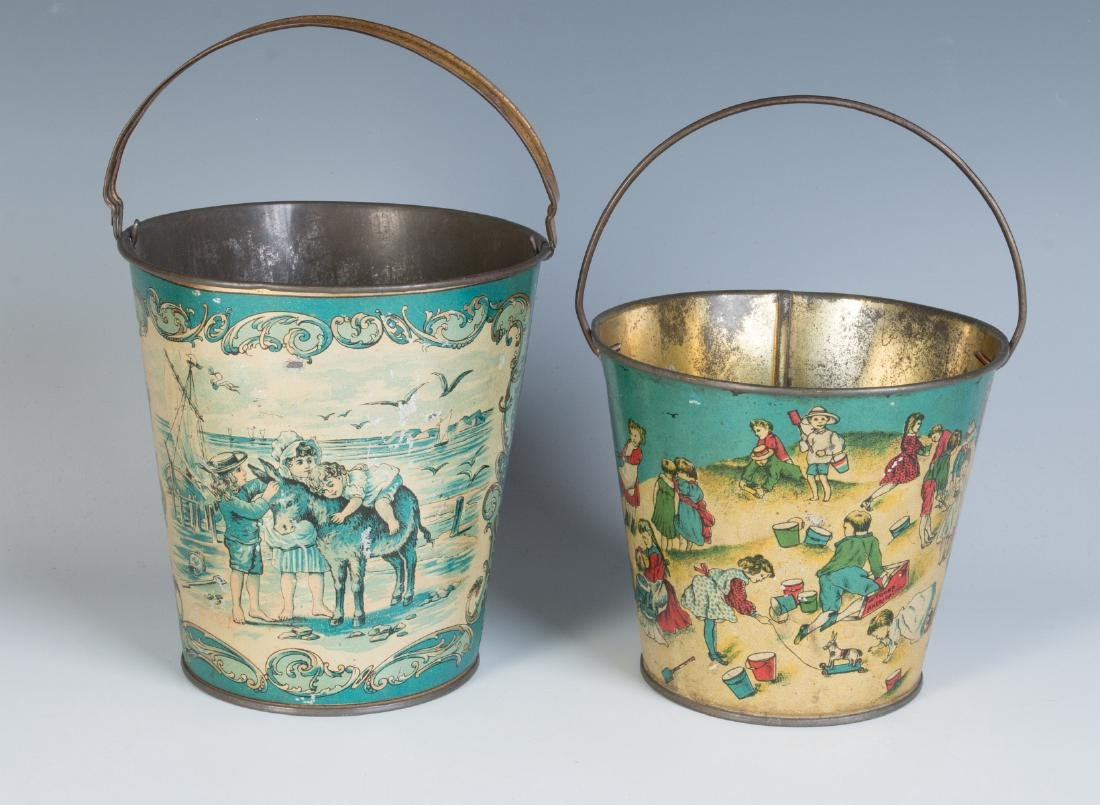 TWO GOOD VICTORIAN TIN LITHO SAND PAILS