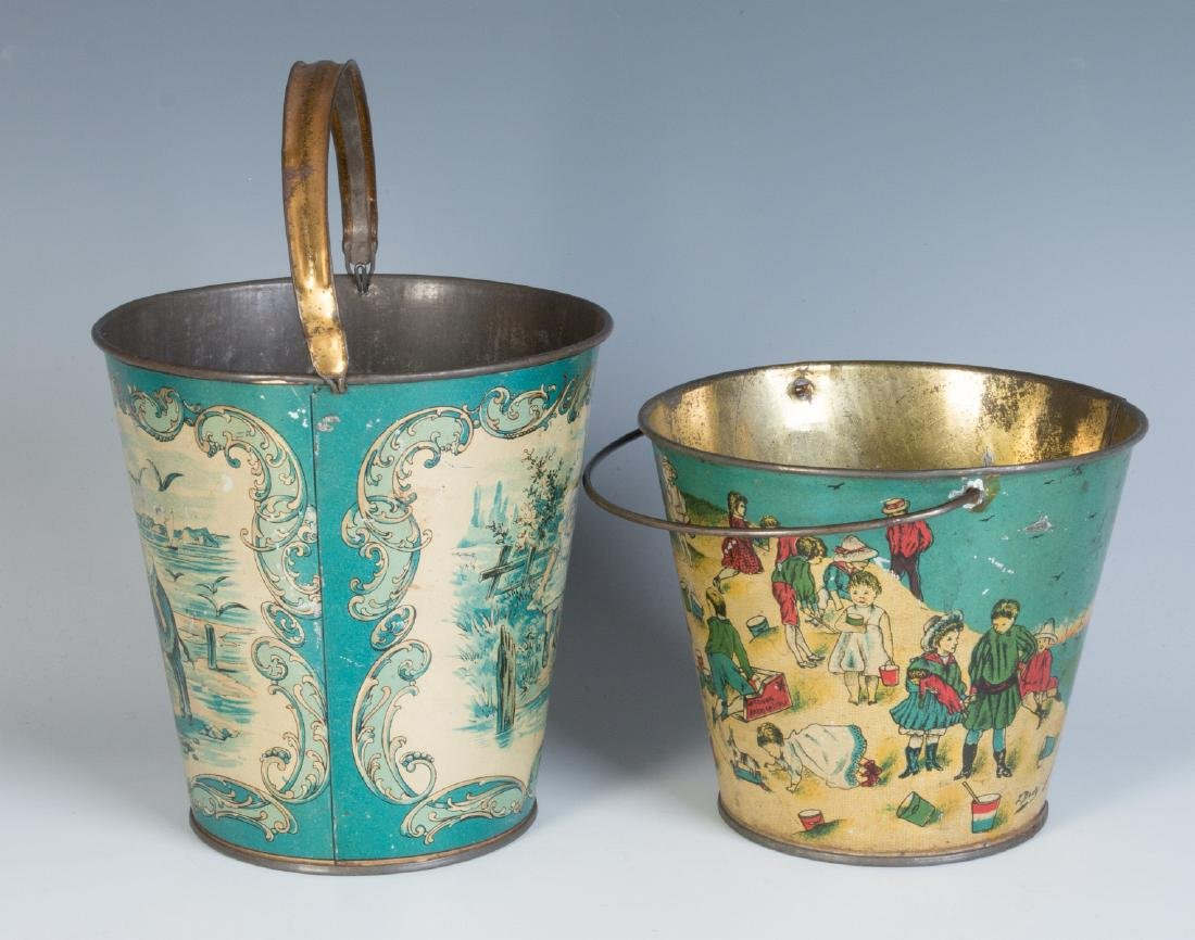 TWO GOOD VICTORIAN TIN LITHO SAND PAILS - 2