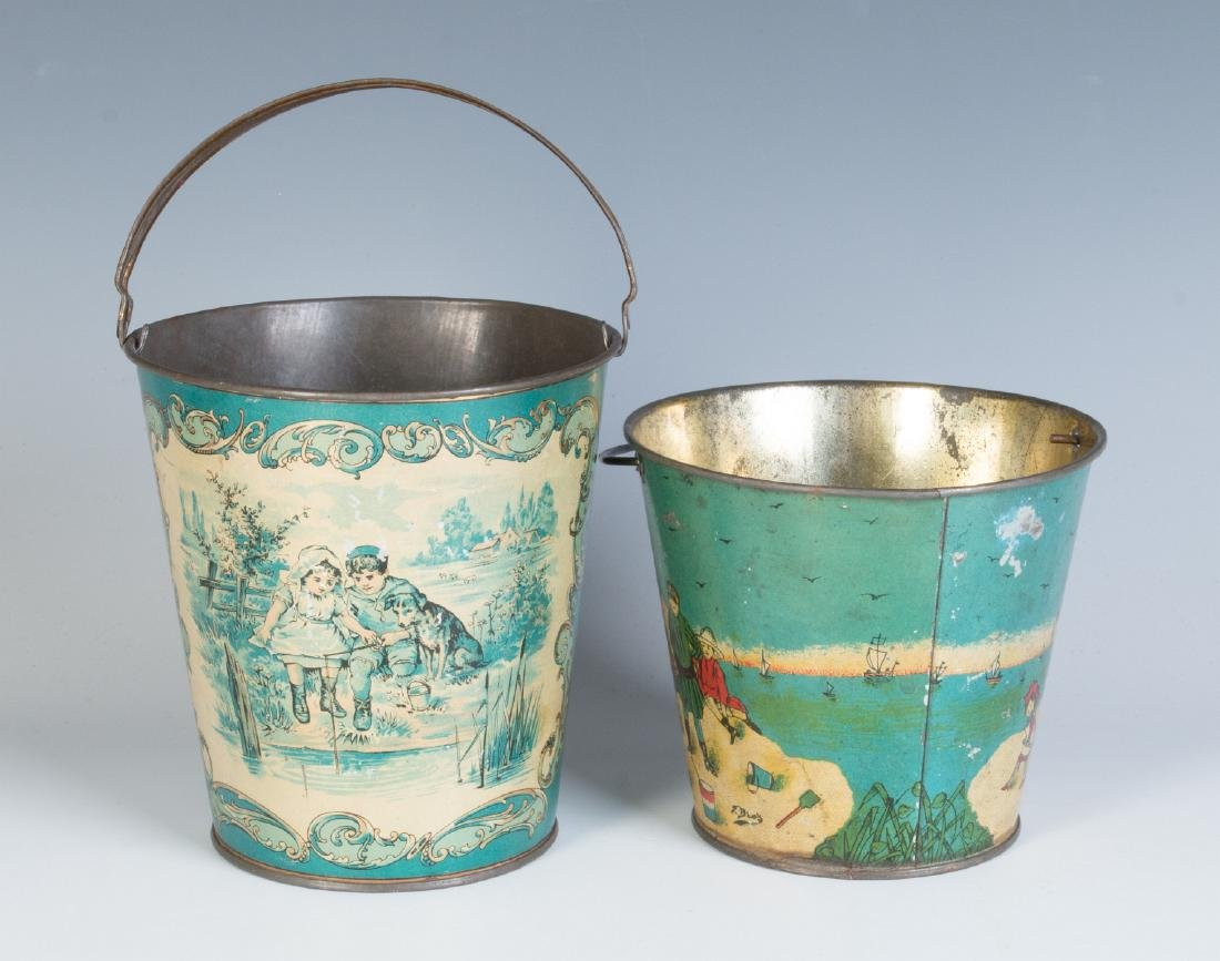 TWO GOOD VICTORIAN TIN LITHO SAND PAILS - 3