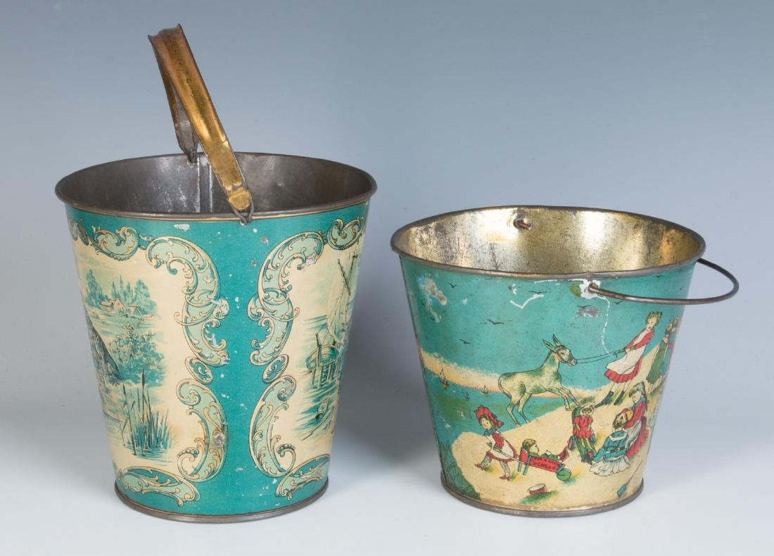 TWO GOOD VICTORIAN TIN LITHO SAND PAILS - 4