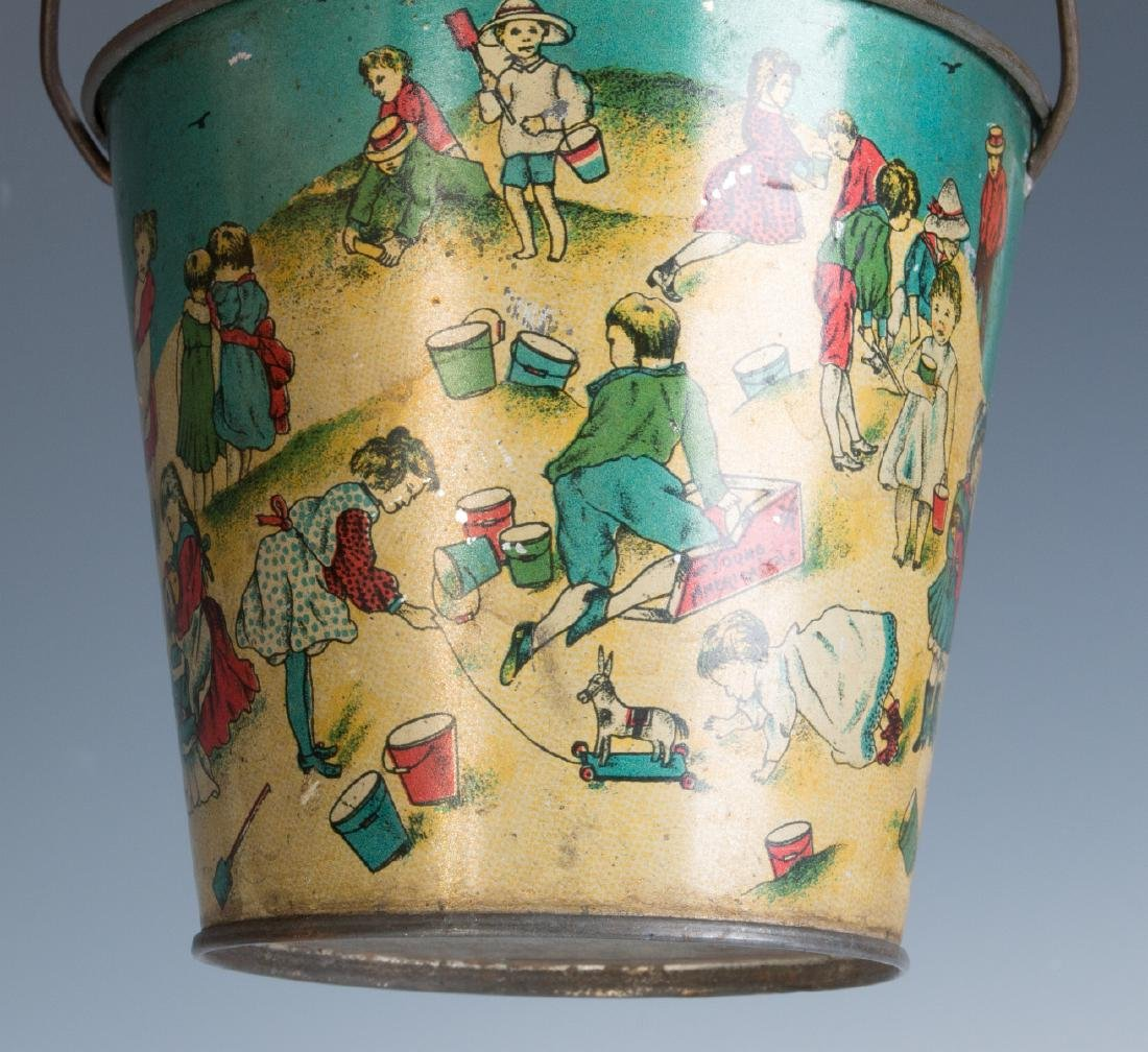 TWO GOOD VICTORIAN TIN LITHO SAND PAILS - 5