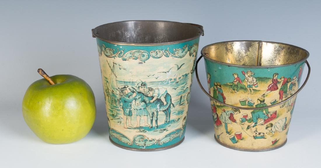 TWO GOOD VICTORIAN TIN LITHO SAND PAILS - 7