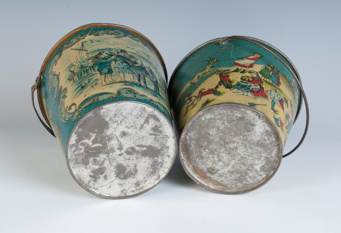 TWO GOOD VICTORIAN TIN LITHO SAND PAILS - 8