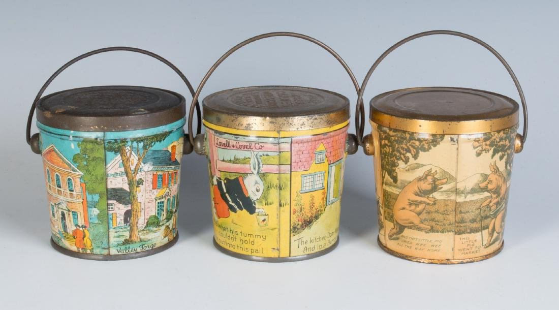THREE LITHOGRAPHED CANDY TINS, LOVELL AND COVEL