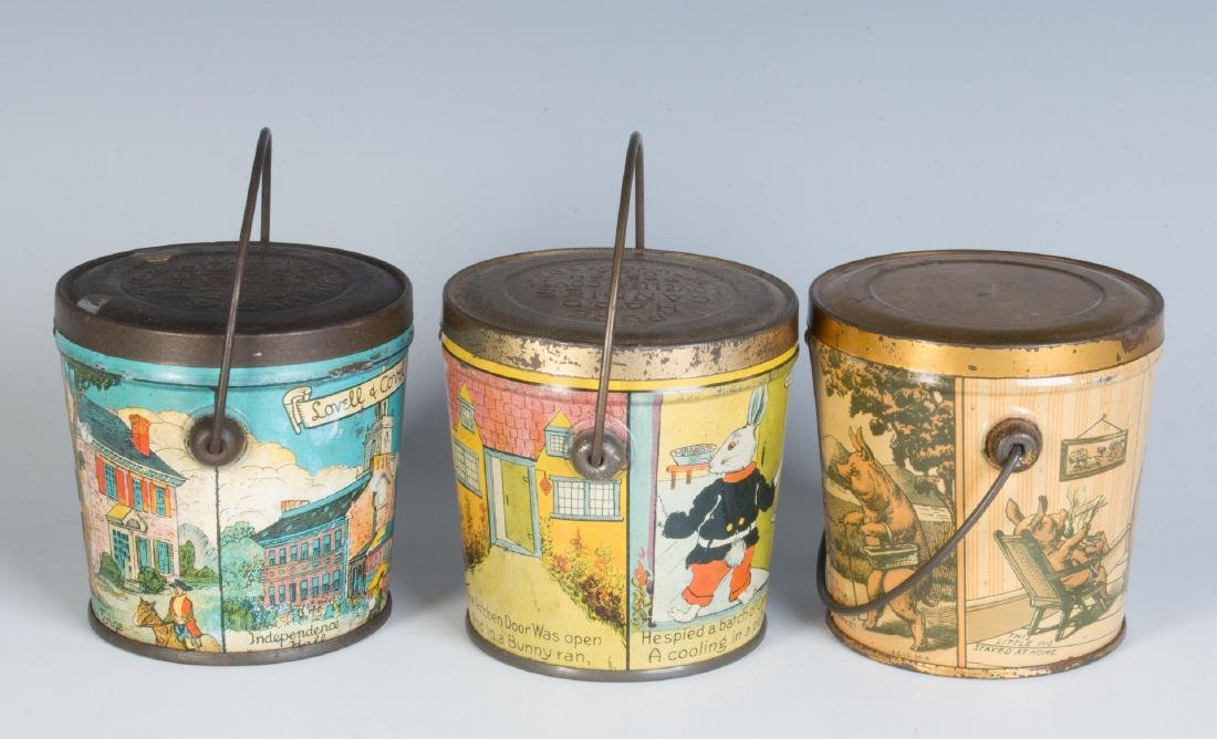 THREE LITHOGRAPHED CANDY TINS, LOVELL AND COVEL - 2
