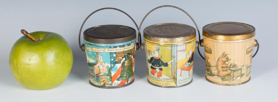 THREE LITHOGRAPHED CANDY TINS, LOVELL AND COVEL - 3
