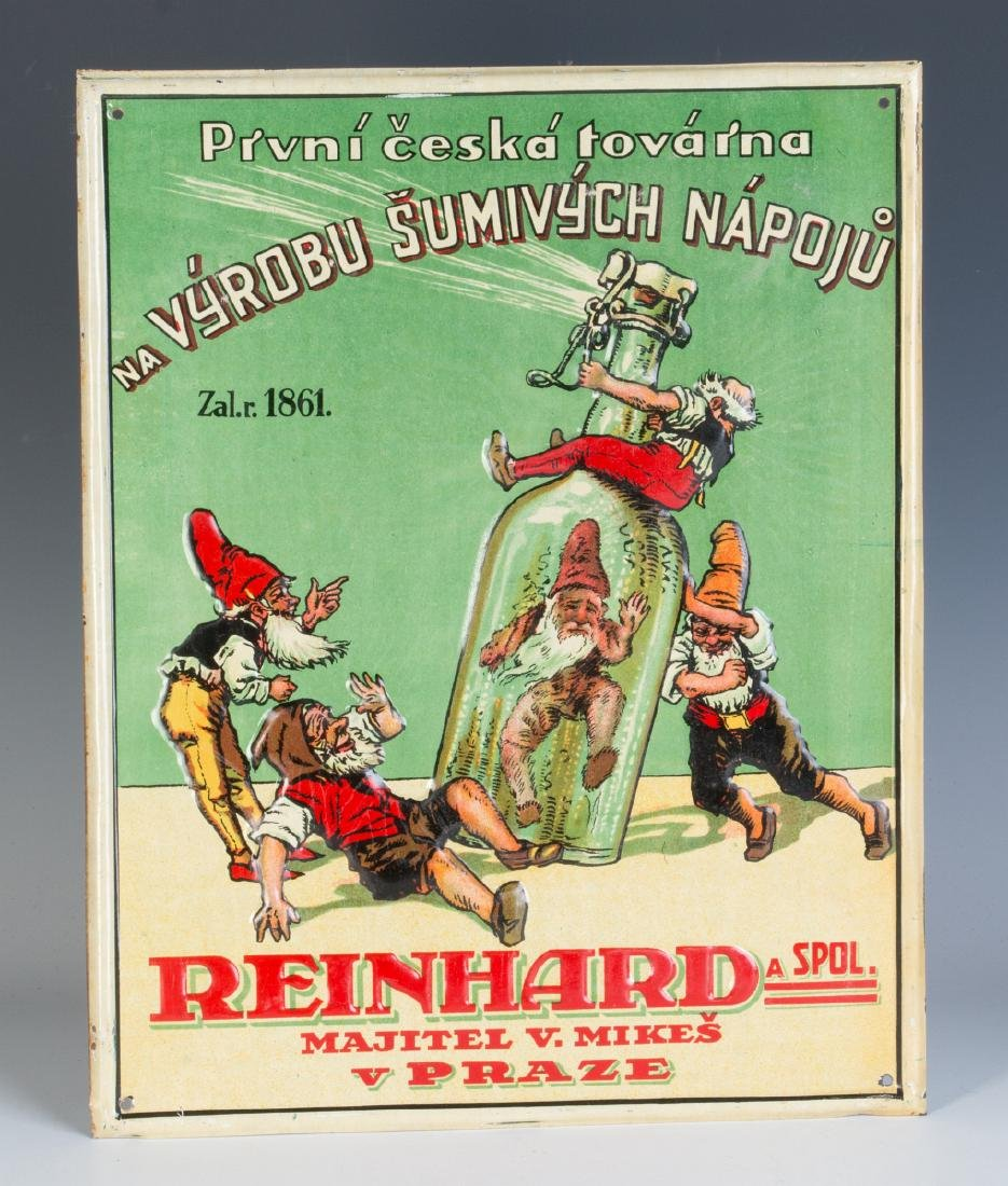 A 20TH C. CZECH SPIRITS ADVERTISING SIGN W/ GNOMES