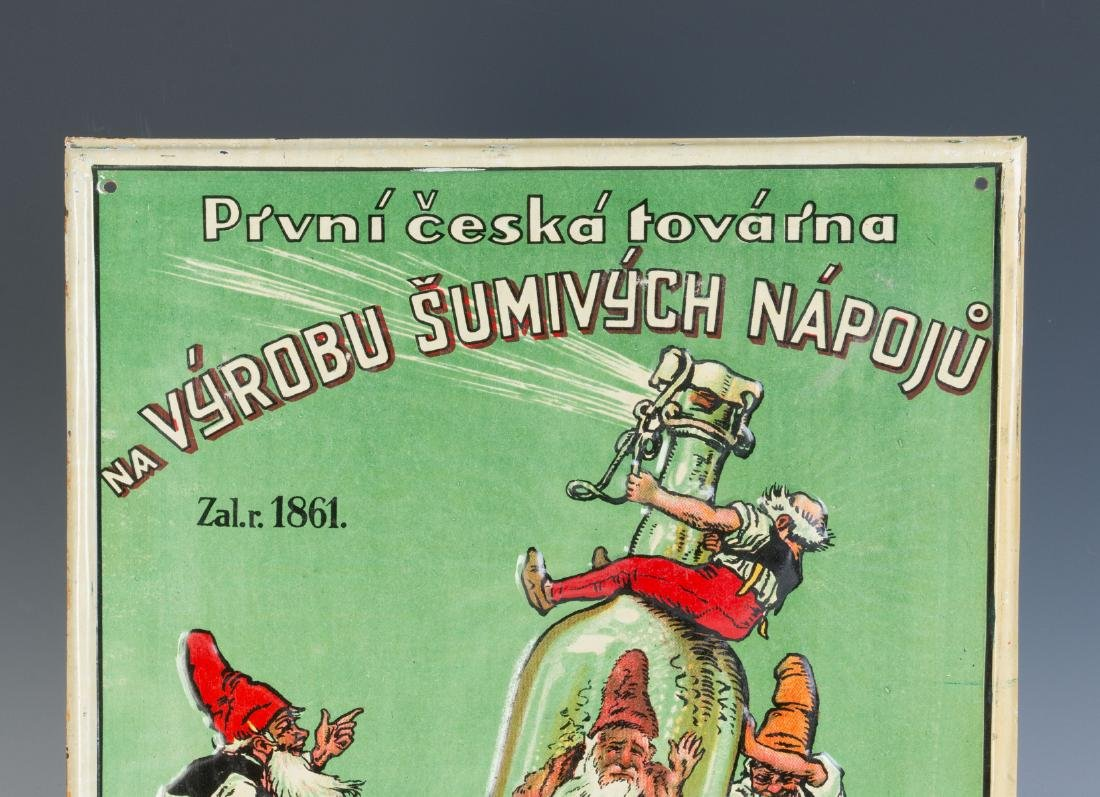 A 20TH C. CZECH SPIRITS ADVERTISING SIGN W/ GNOMES - 2
