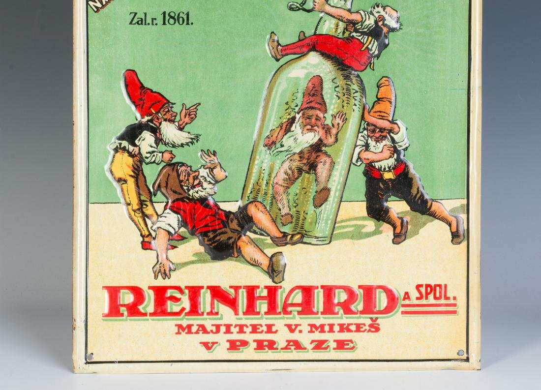 A 20TH C. CZECH SPIRITS ADVERTISING SIGN W/ GNOMES - 3