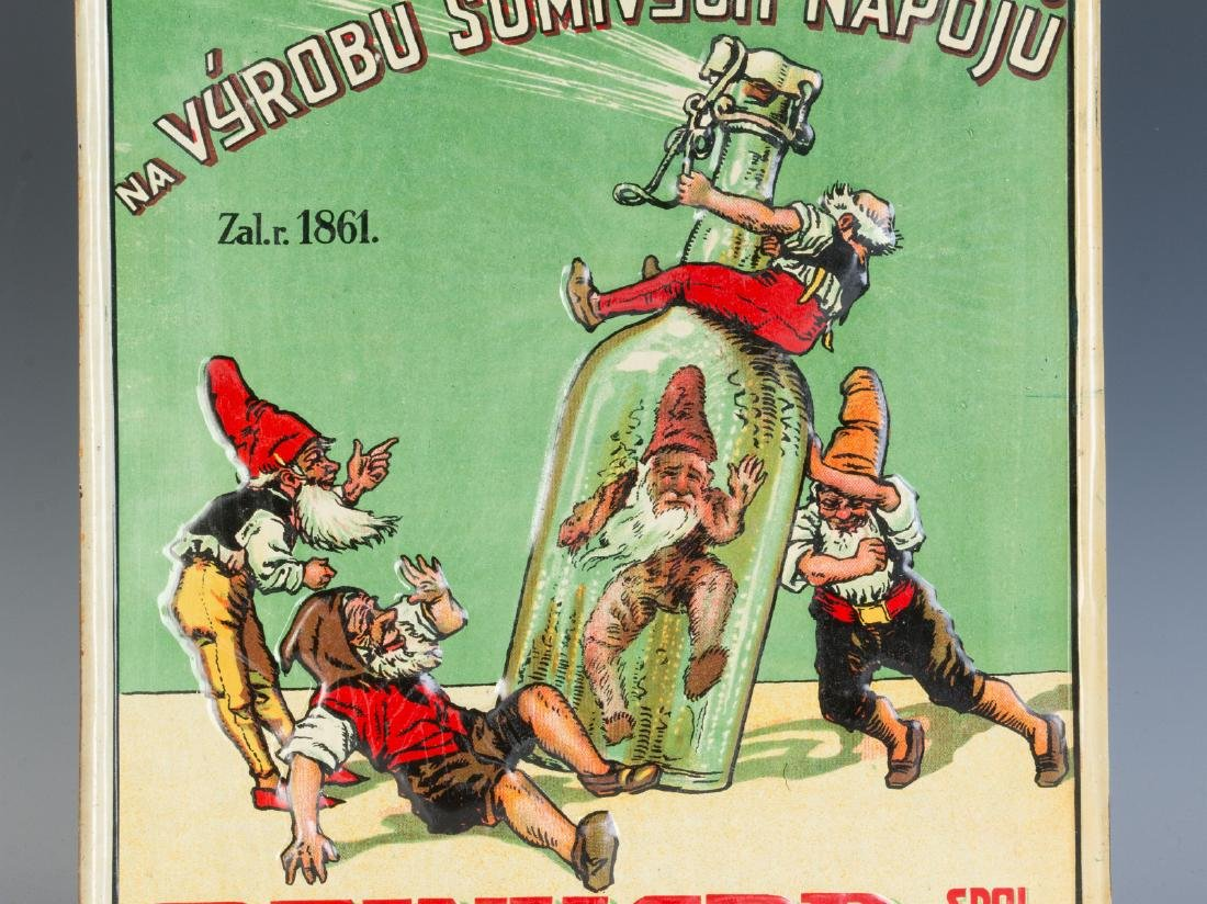 A 20TH C. CZECH SPIRITS ADVERTISING SIGN W/ GNOMES - 4