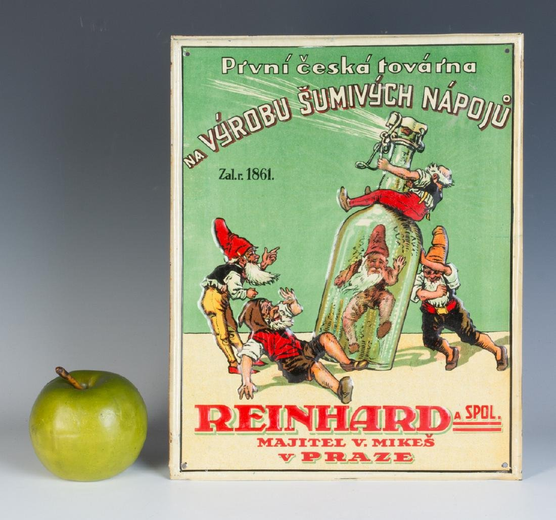 A 20TH C. CZECH SPIRITS ADVERTISING SIGN W/ GNOMES - 5