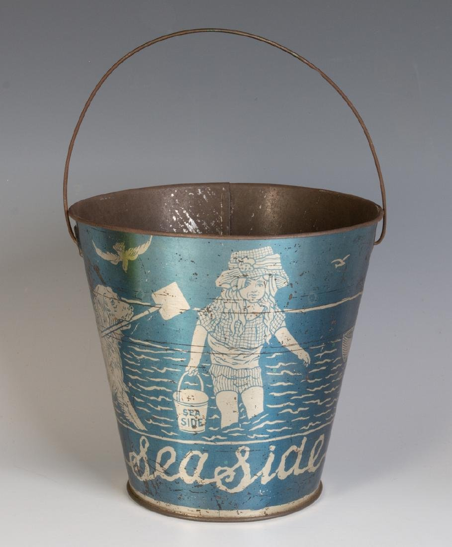 A GOOD VICTORIAN 'SEASIDE' SAND PAIL W/ KIDS & DOG