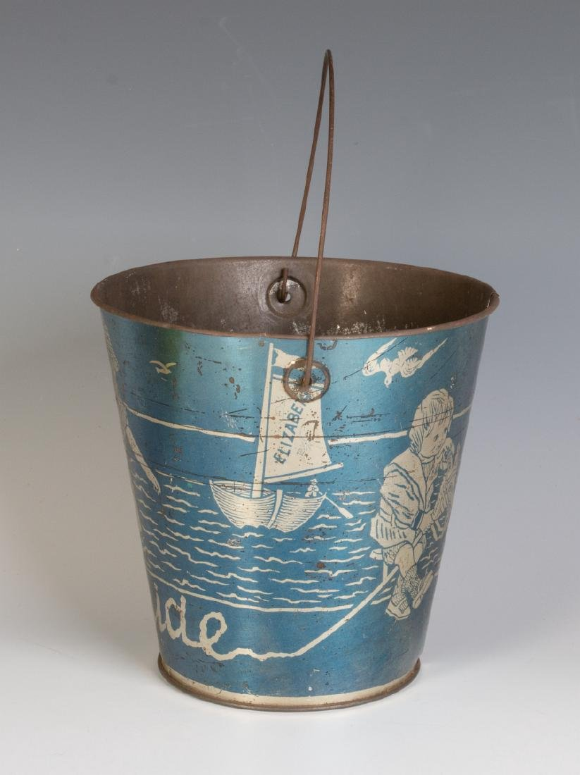 A GOOD VICTORIAN 'SEASIDE' SAND PAIL W/ KIDS & DOG - 2