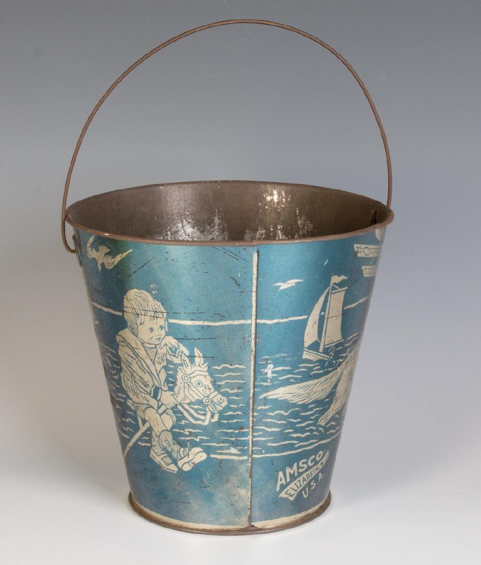 A GOOD VICTORIAN 'SEASIDE' SAND PAIL W/ KIDS & DOG - 3