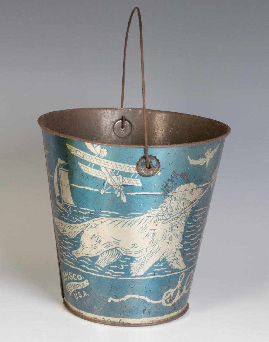 A GOOD VICTORIAN 'SEASIDE' SAND PAIL W/ KIDS & DOG - 4