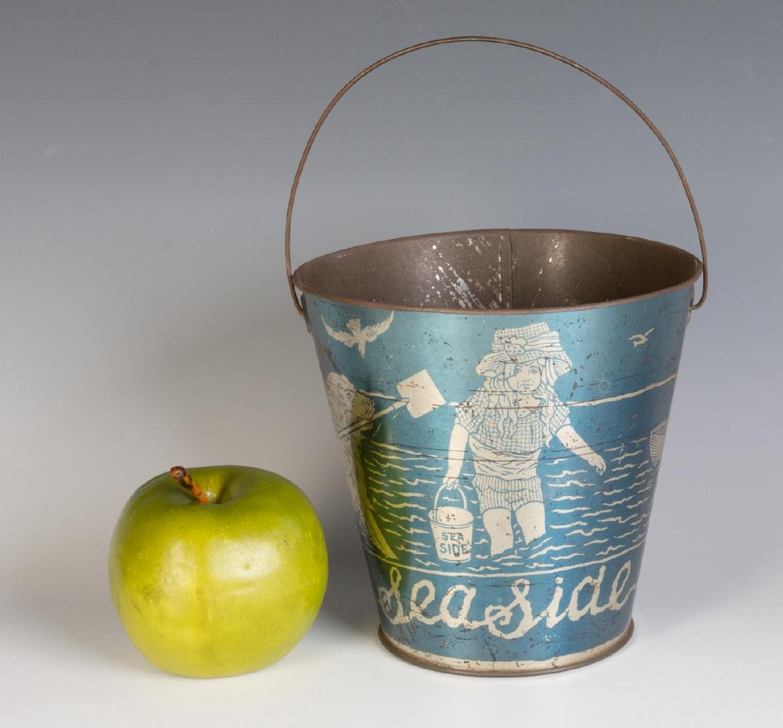 A GOOD VICTORIAN 'SEASIDE' SAND PAIL W/ KIDS & DOG - 5