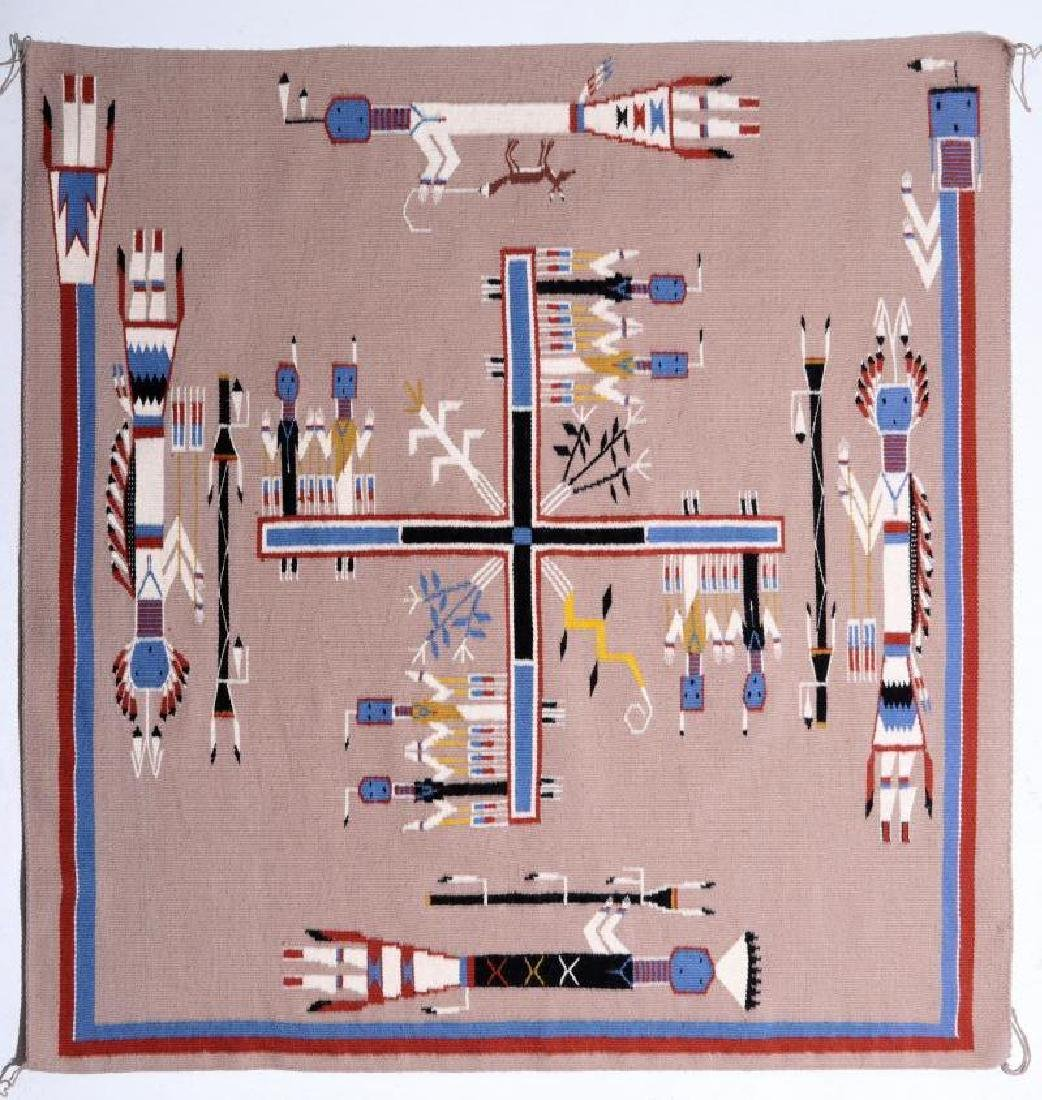 AN EXCEPTIONAL 20TH C. NAVAJO SAND PAINTING RUG