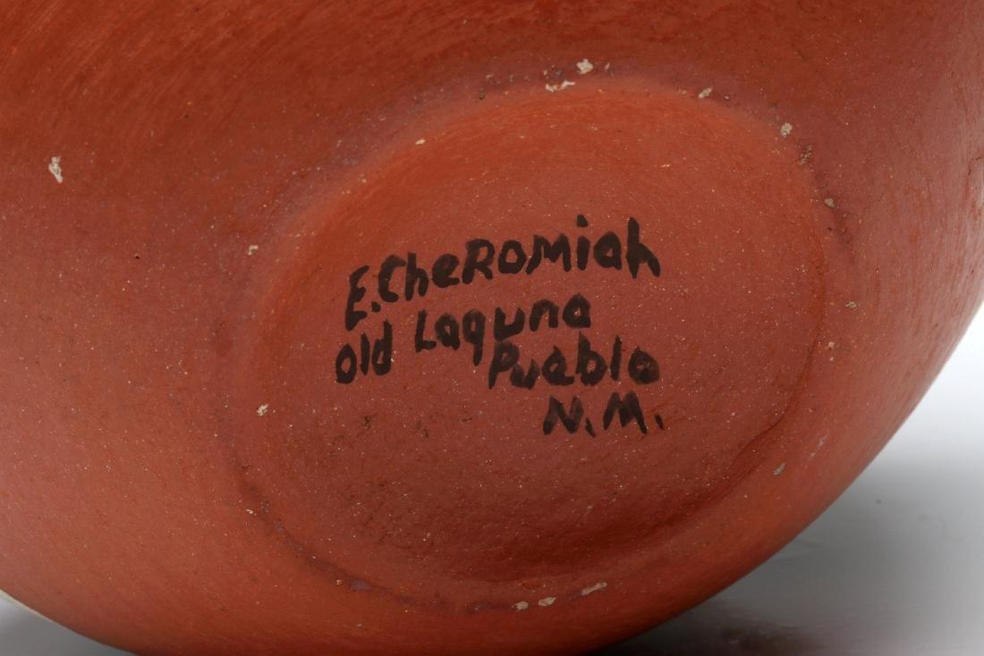 A LAGUNA PUEBLO POTTERY JAR SIGNED E. CHEROMIAH - 9