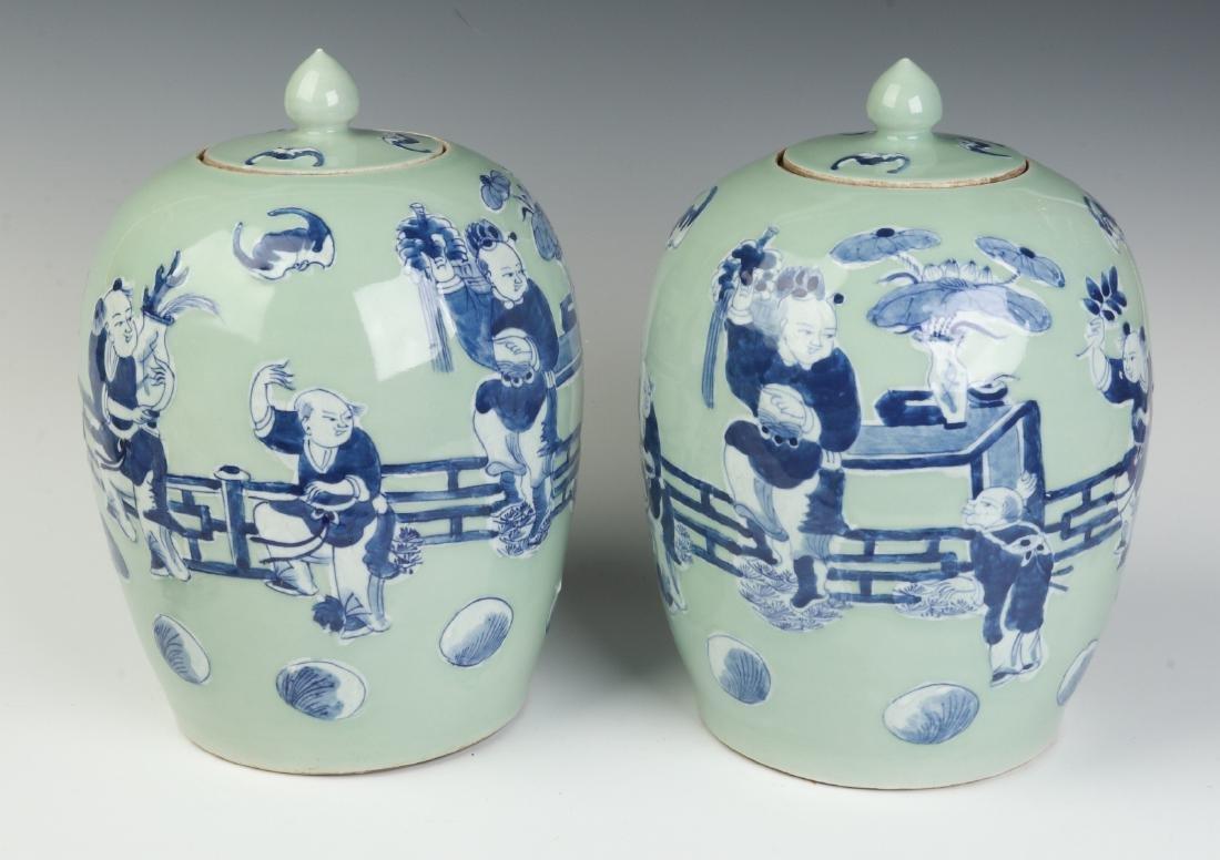 A PAIR 19TH C CHINESE EXPORT CELADON PORCELAIN JARS