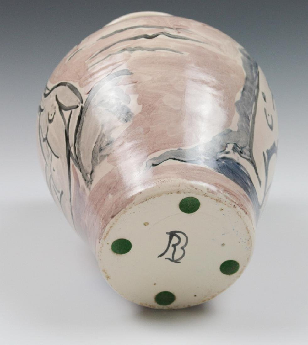 A FRENCH MODERNIST ART POTTERY VASE SIGNED RB - 8