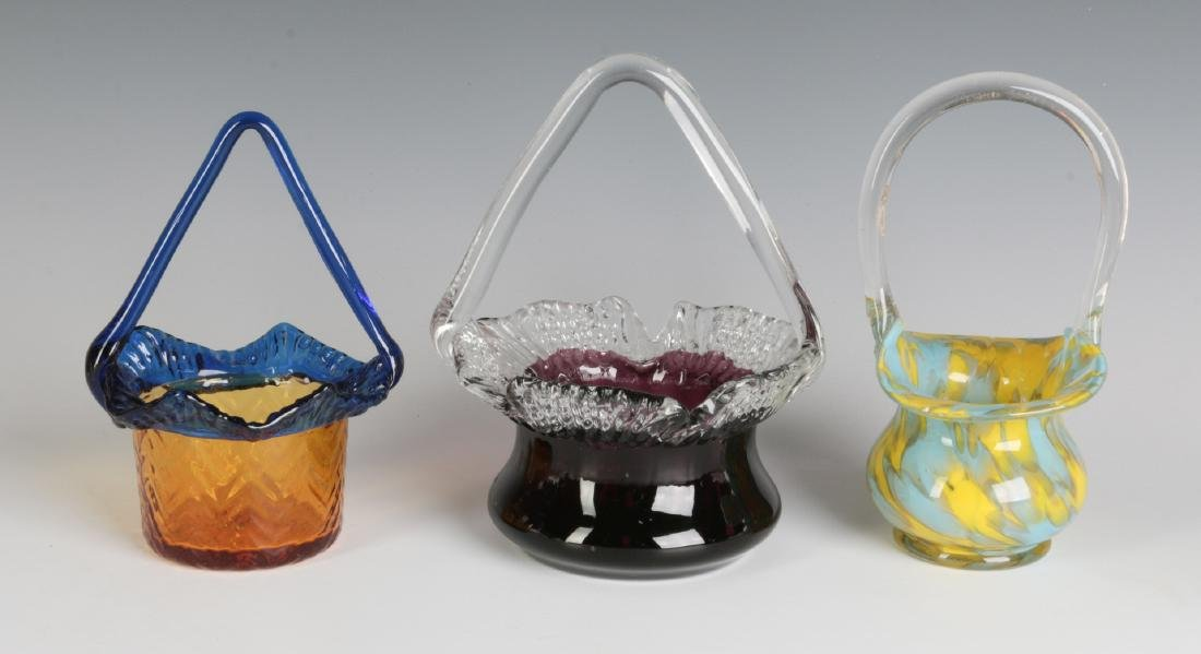 THREE CZECHOSLOVAKIAN ART GLASS BASKETS