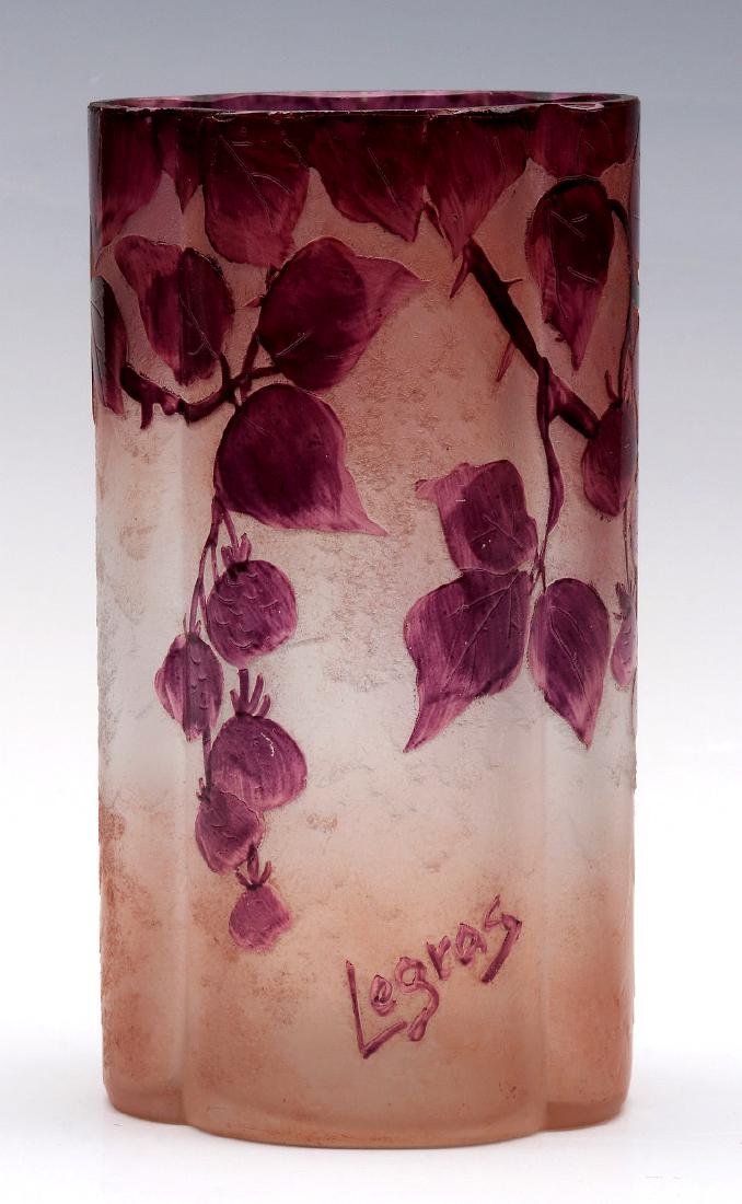 A FRENCH CAMEO GLASS VASE SIGNED LEGRAS