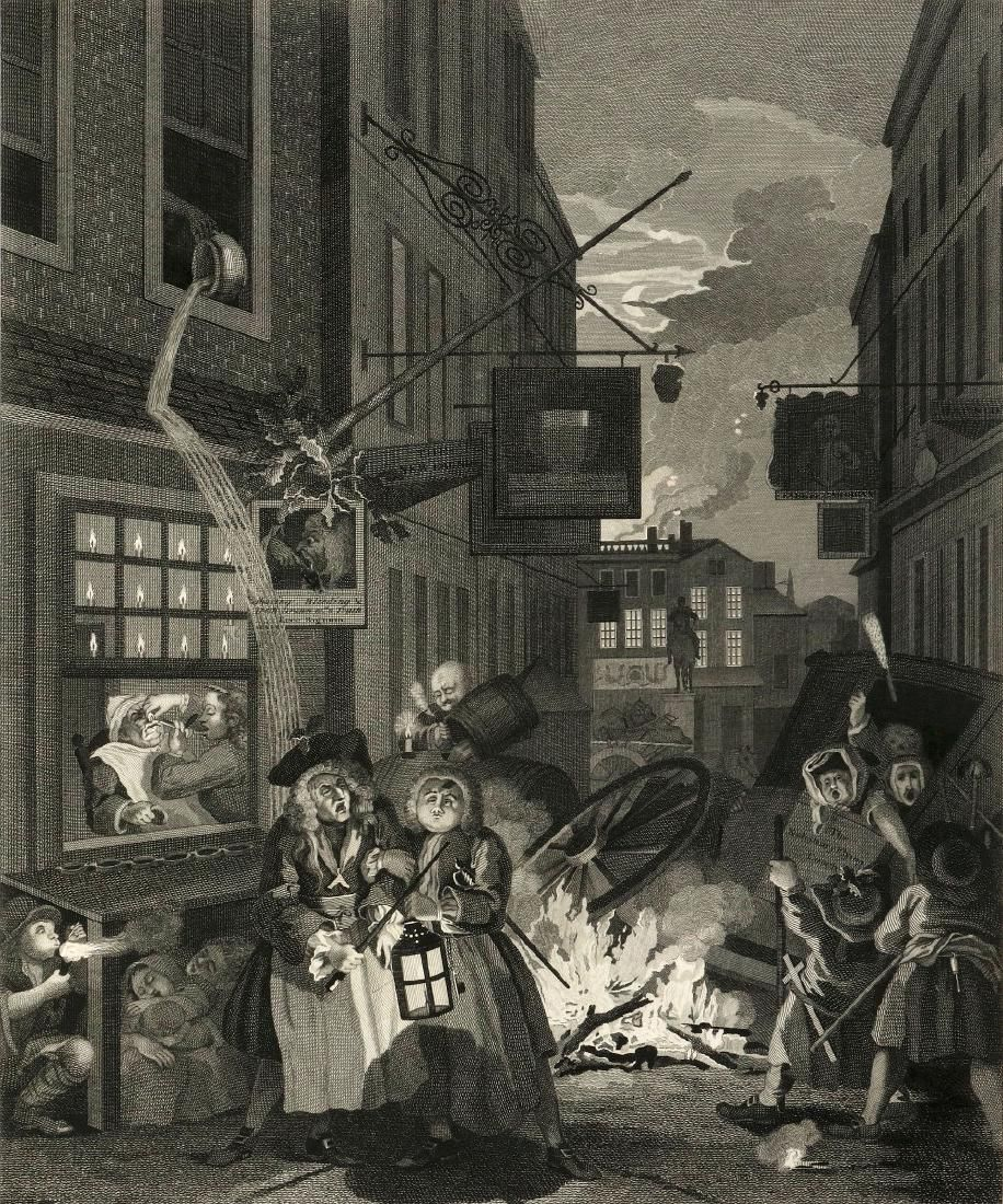 WILLIAM HOGRATH ETCHINGS, FOUR TIMES OF DAY C 1800