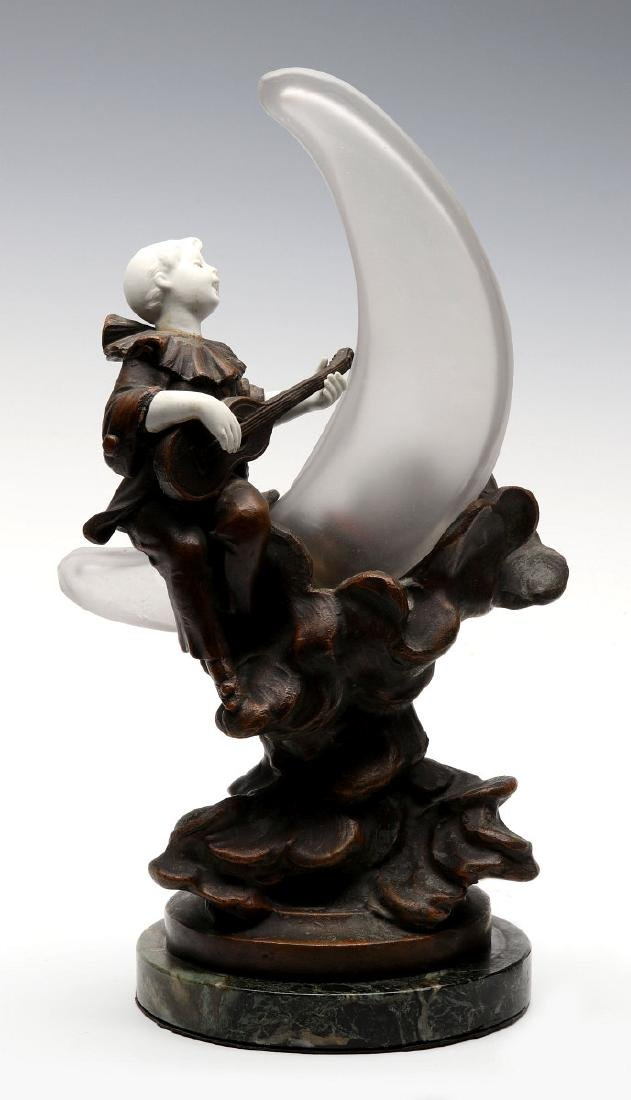 A GOOD 1930S LAMP WITH PIERROT ON CRESCENT MOON