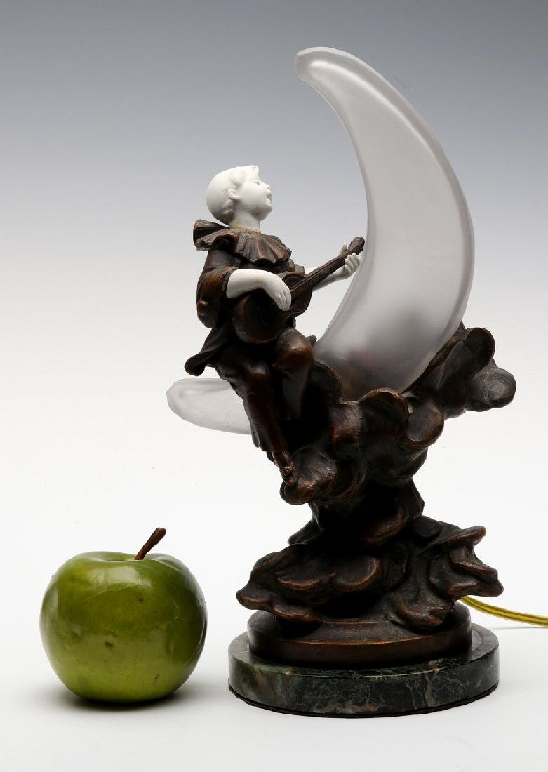 A GOOD 1930S LAMP WITH PIERROT ON CRESCENT MOON - 2