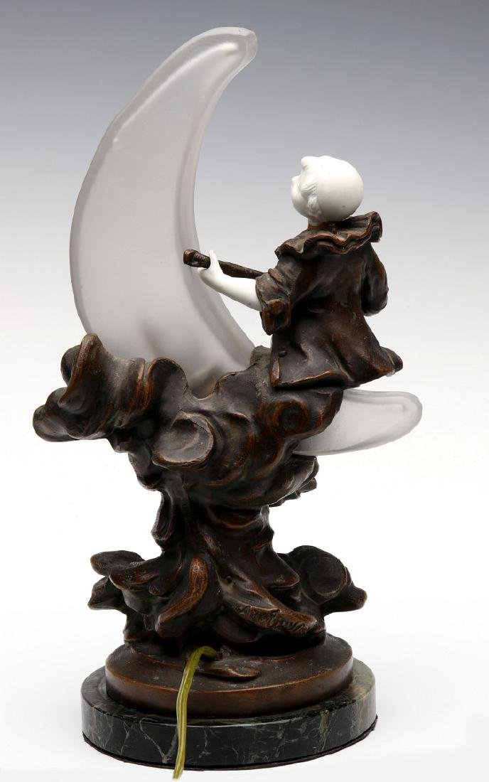 A GOOD 1930S LAMP WITH PIERROT ON CRESCENT MOON - 6