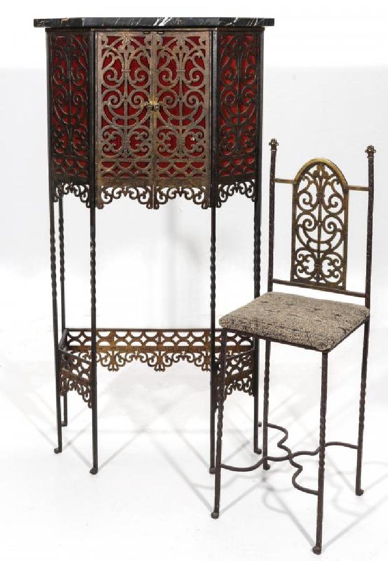 AN ORNATE ART DECO IRON TELEPHONE CABINET W/MARBLE