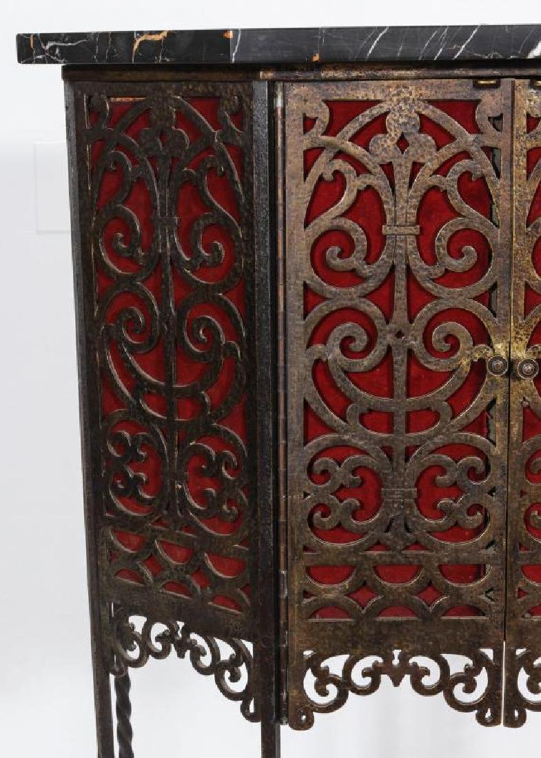 AN ORNATE ART DECO IRON TELEPHONE CABINET W/MARBLE - 3
