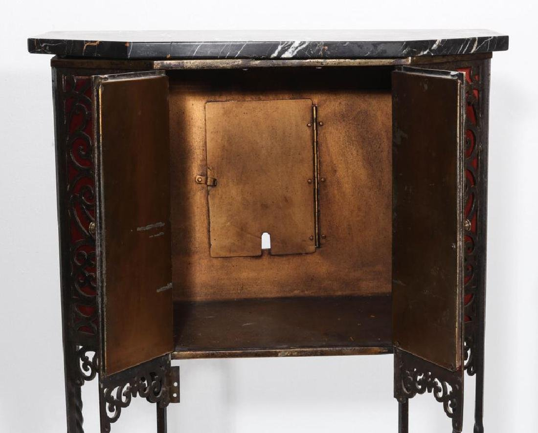 AN ORNATE ART DECO IRON TELEPHONE CABINET W/MARBLE - 6