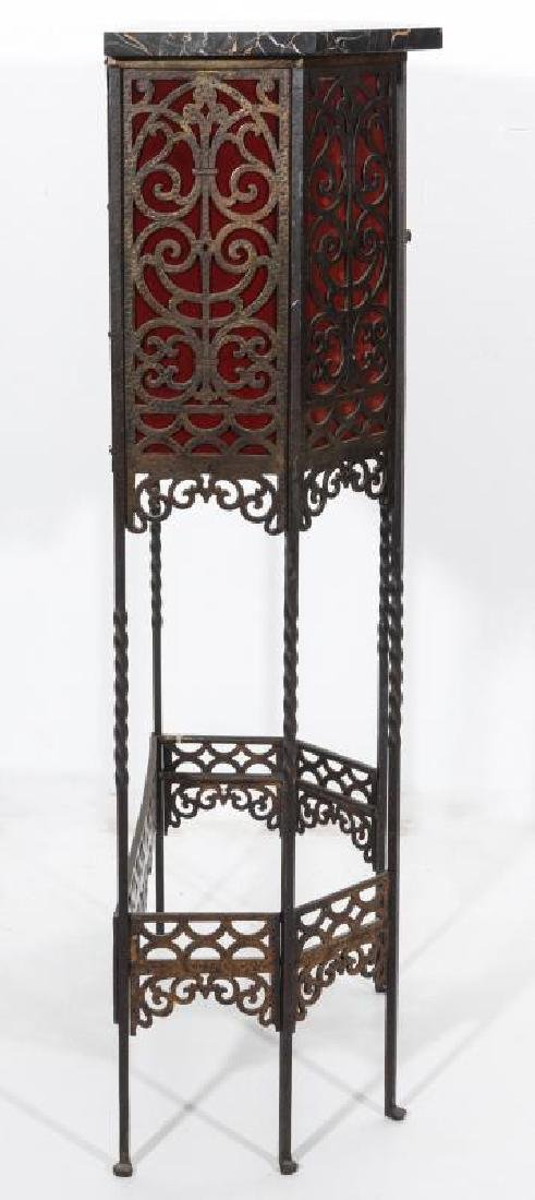 AN ORNATE ART DECO IRON TELEPHONE CABINET W/MARBLE - 7