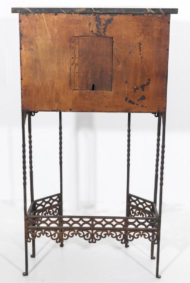 AN ORNATE ART DECO IRON TELEPHONE CABINET W/MARBLE - 8