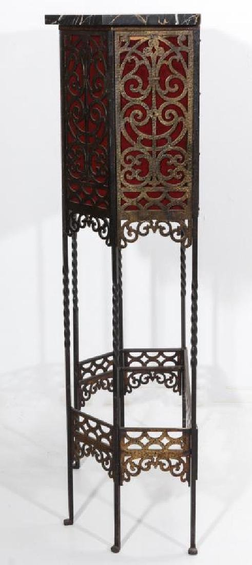 AN ORNATE ART DECO IRON TELEPHONE CABINET W/MARBLE - 9