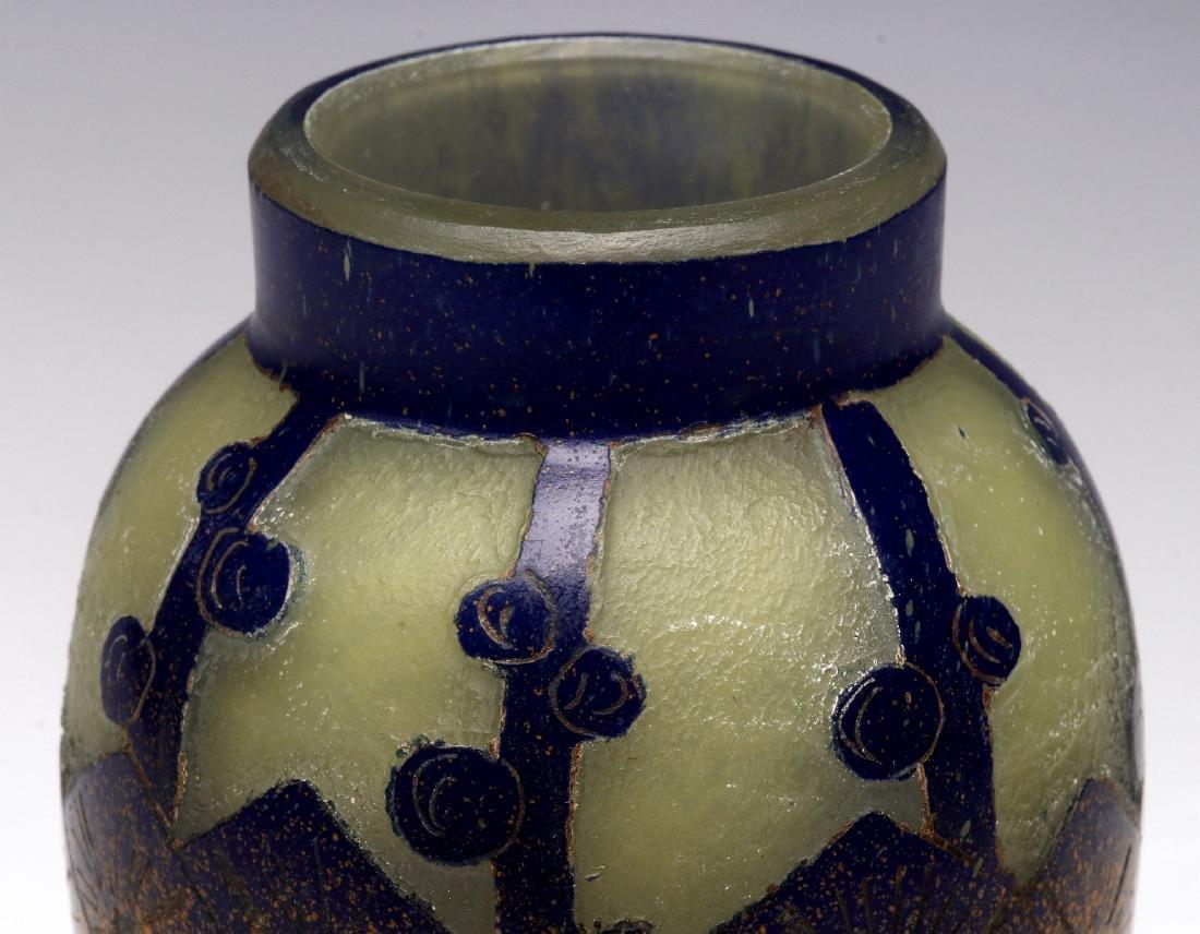 SCHNEIDER ART DECO CAMEO GLASS VASE SIGNED CHARDER - 3