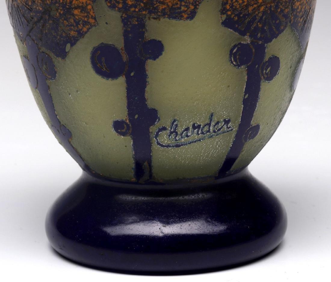 SCHNEIDER ART DECO CAMEO GLASS VASE SIGNED CHARDER - 4
