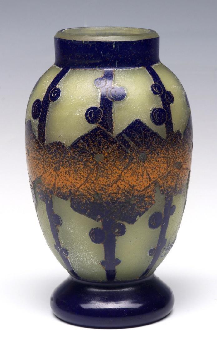 SCHNEIDER ART DECO CAMEO GLASS VASE SIGNED CHARDER - 7