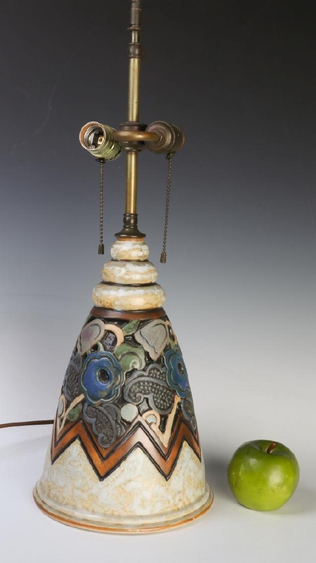 A GOOD MOUGIN NANCY FRENCH ART DECO POTTERY LAMP - 10
