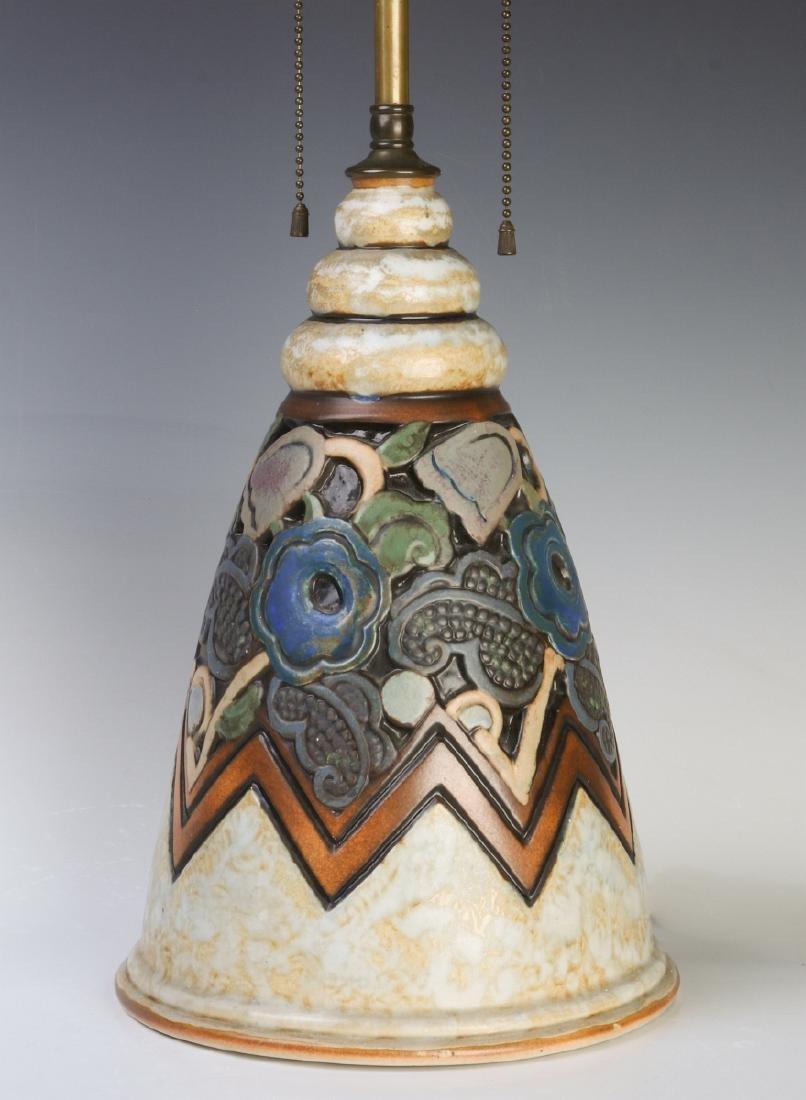 A GOOD MOUGIN NANCY FRENCH ART DECO POTTERY LAMP
