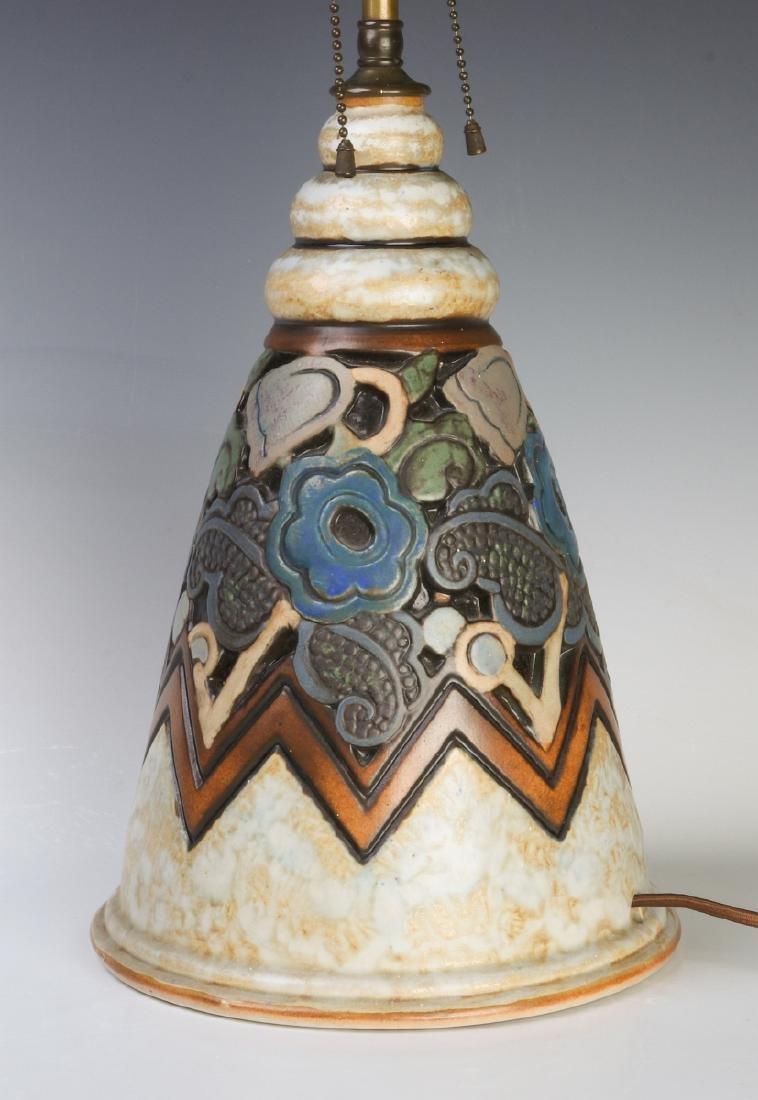 A GOOD MOUGIN NANCY FRENCH ART DECO POTTERY LAMP - 2
