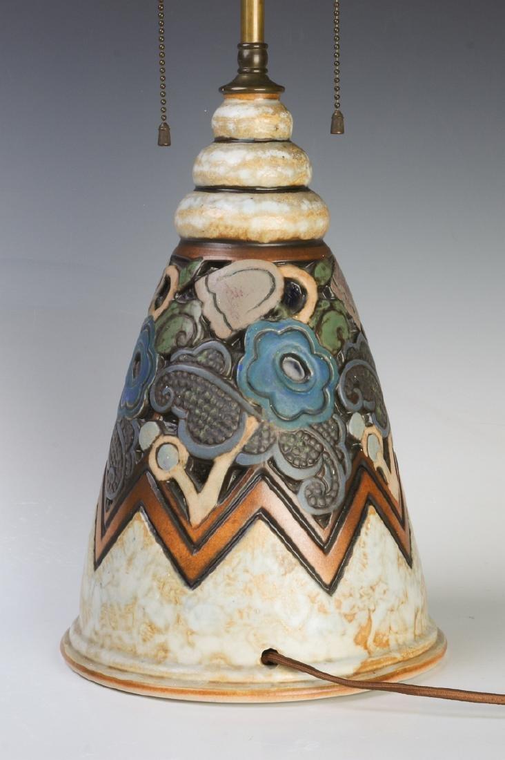 A GOOD MOUGIN NANCY FRENCH ART DECO POTTERY LAMP - 3