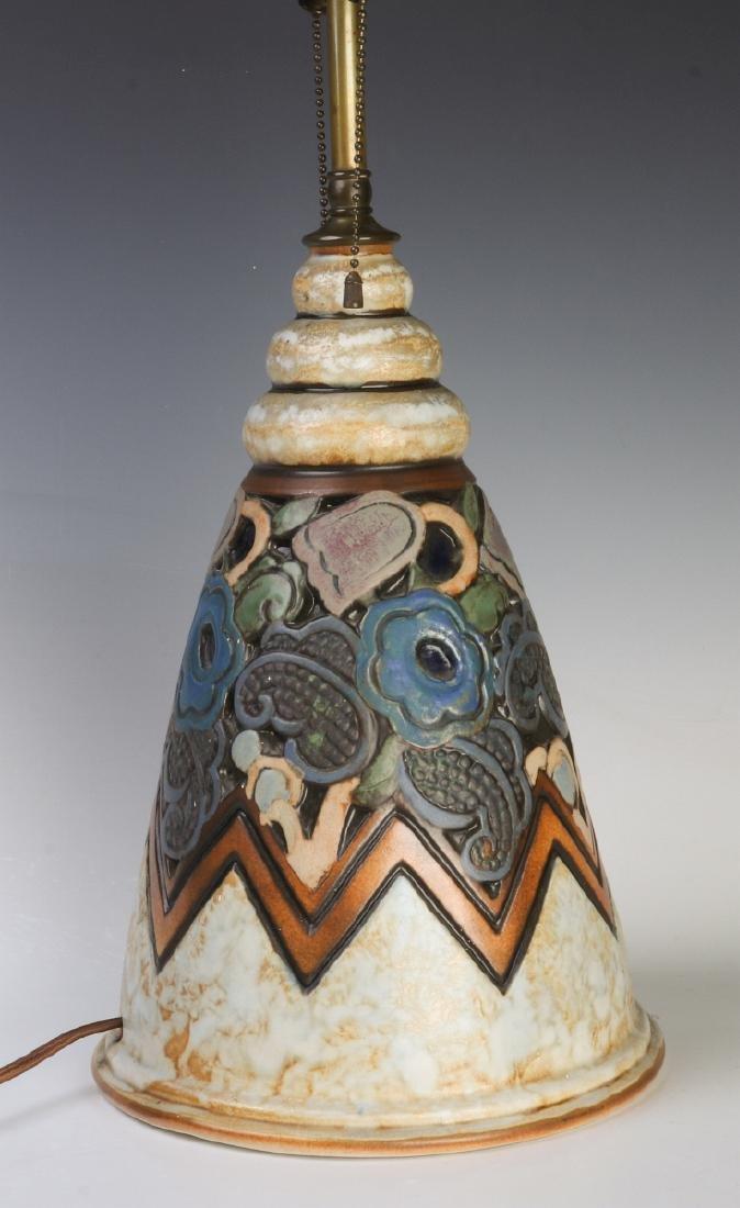 A GOOD MOUGIN NANCY FRENCH ART DECO POTTERY LAMP - 5