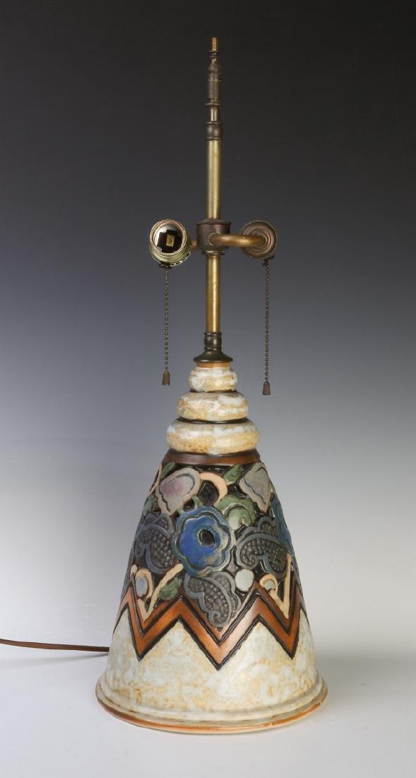 A GOOD MOUGIN NANCY FRENCH ART DECO POTTERY LAMP - 6