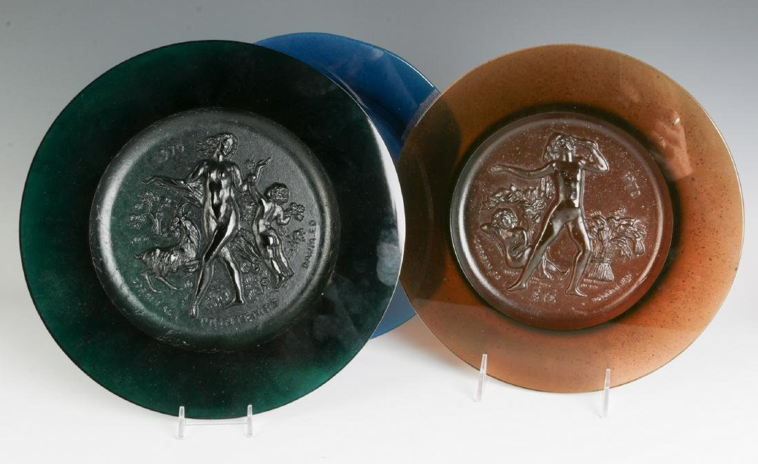DAUM 'FOUR SEASONS' PATE DE VERRE GLASS PLATES
